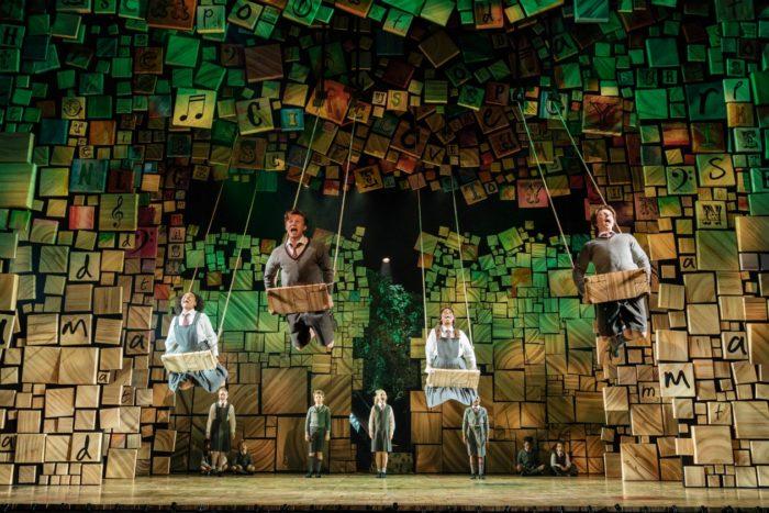 Children on swings in Matilda the Musical at Bristol Hippodrome