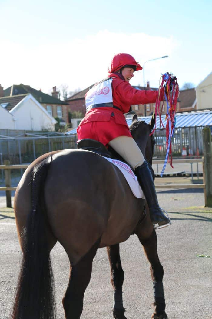 red pants on horse