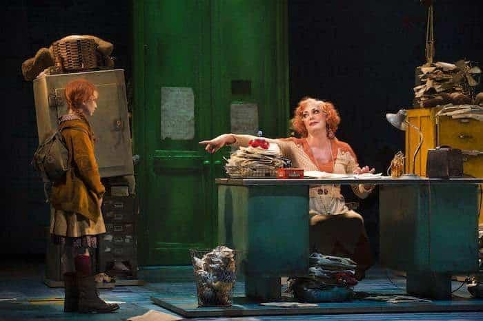 ANNIE - Craig Revel Horwood as 'Miss Hannigan' and Sophia Pettit as 'Annie'. Photo credit Paul Coltas
