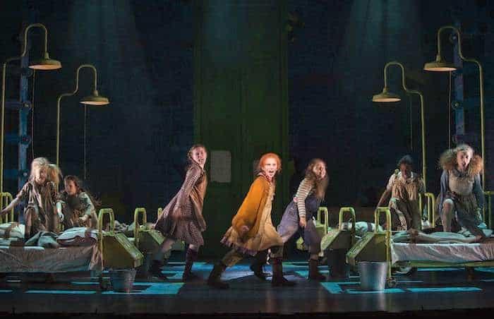 ANNIE - Sophia Pettit as 'Annie' and Orphans. Photo credit Paul Coltas