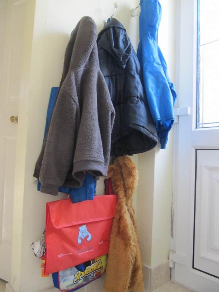 low level coat & bag hooks