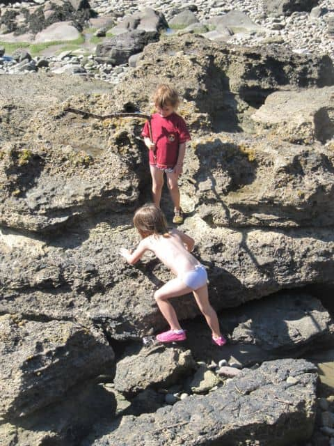 Rock Climbing on the beach